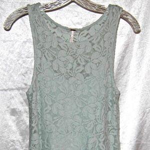 Free People Aqua Lace Flowing Lined Dress XS Nwot
